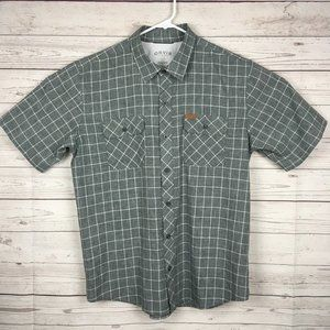 Orvis Mens Plaid Polyester Shirt L Gray Button Up